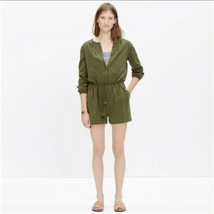 Madewell army green long sleeve shorts romper